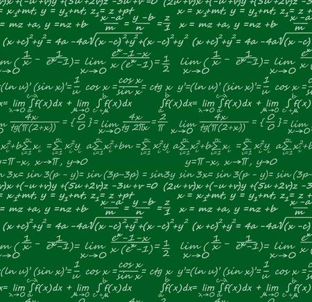 Fond d'équations avec des formules scientifiques de géométrie, de physique, de mathématiques et de trigonométrie. Tableau vert vectoriel avec lettrage de données, algorithmes et logarithmes, intégrales et théorèmes, cos et sin