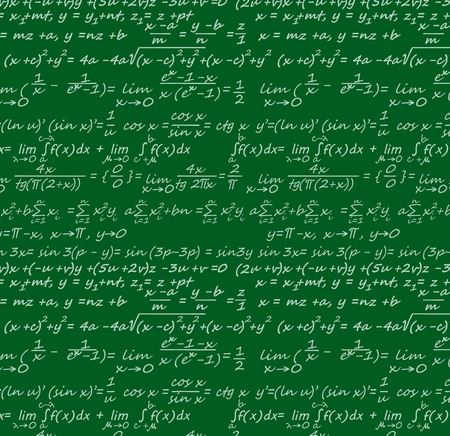 Gleichungshintergrund mit wissenschaftlichen Formeln für Geometrie, Physik, Mathematik und Trigonometrie. Vektorgrüne Tafel mit Datenbeschriftung, Algorithmen und Logarithmen, Integralen und Theoremen, cos und sin