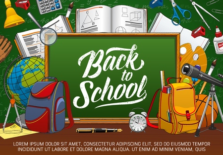 Blackboard with back to school lettering, stationery tools. Vector open textbooks and exercise books, backpacks and astronomy spyglass. Geometry lesson tools, paints with brush, first bell, globe Banque d'images - 122941761