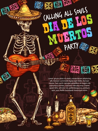 Mexican Dia de los Muertos holiday skeleton skull in sombrero hat playing guitar. Day of the Dead or Halloween party with maracas, tequila and taco, enchilada, sweet bun and candle vector sketches