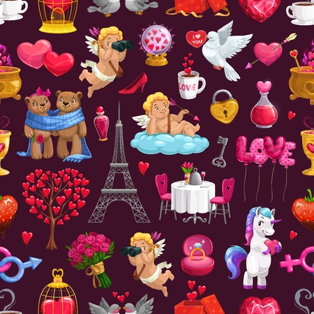 Love and passion holiday attributes, Valentines day seamless pattern. Vector Eiffel Tower, cupids and couple of bears, unicorn and flower bouquets. Table served on two, golden cage with locked heart
