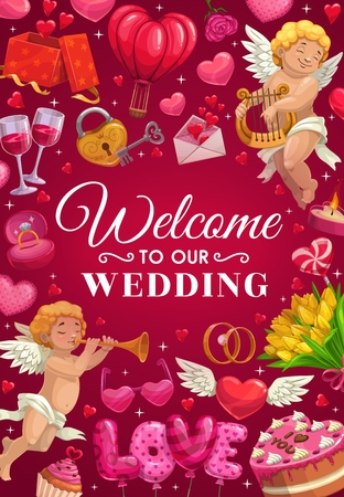 Welcome to our wedding lettering and frame of love symbols. Vector engagement rings, cupid playing harp and trumpet, cake. Marriage ceremony gifts, air balloon and envelope with heart wishes, flowers