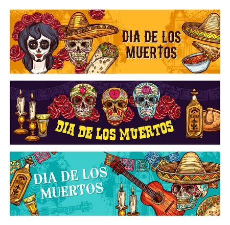 Dia de los Muertos Mexican traditional holiday or Day of Dead. Vector Dia de Muertos sketch banners of traditional celebration symbols, face tattoo calavera skull, sombrero or tequila with bread pan