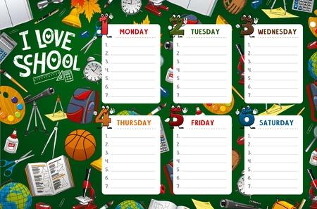 Orario scolastico, orario settimanale e modello settimanale della tabella delle classi degli studenti. Orario scolastico vettoriale con materiale scolastico, matite e quaderni, numeri dei giorni dei cartoni animati sulla lavagna verde Vettoriali