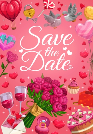Save the date calligraphy, wedding day party invitation. Vector diamond wedding ring and gifts, doves with love message and heart balloons, roses flowers and I love you cake, golden key and lock Illustration