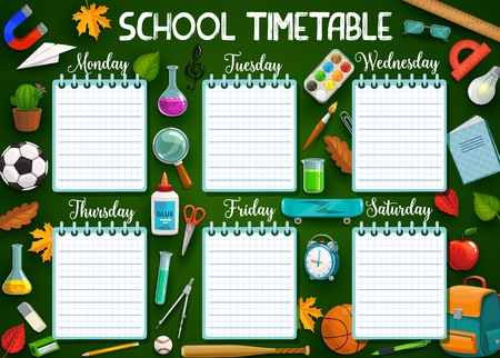 School timetable, stationery items and days of week, spare lines to write notes. Vector backpack and magnifier, chemical flasks, rulers. Football and volleyball ball, compass divider and exercise book Ilustração