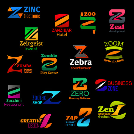 Z letter icons and corporate identity symbols of zoo, dance and fitness school or sportswear store. Vector Z of optical clinic, computer software shop or landscape design agency and restaurant