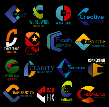 C icons, corporate identity and business company letter symbols. Vector C signs, creative design development studio, travel or advertising agency and music store or golf sport club