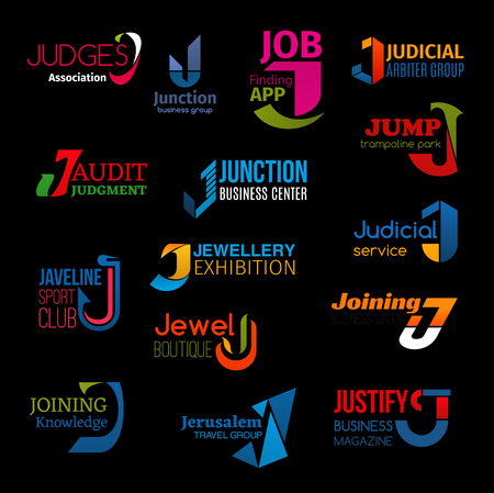 J letter icons of business company corporate identity signs in technology and service. Vector J symbols of judges and lawyers association, job find app or judicial arbiter group and jewelry exhibition