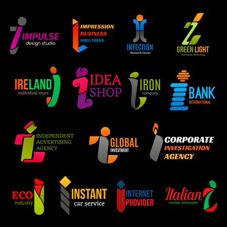 Letter I corporate identity icons, commerce and finance business. Vector I design studio or medical research center, green technology or advertising agency and car service, internet provider company