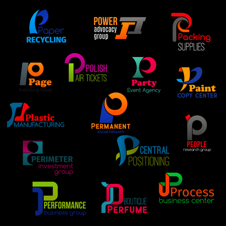 P letter icons of corporate identity and business company symbols. Vector letter P signs of paper recycling factory, advocacy lawyer group or plastic manufacturing store and social network application