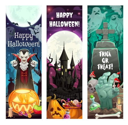 Halloween horror night trick or treating vector banners. Ghosts, pumpkins and bats, spooky vampire, zombie hand and creepy skeleton skull with haunted house, cemetery and full moon on background