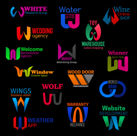 W letter icons and corporate identity symbols of wine online shop, wedding agency and wood door manufacturer. Vector W of recruitment company, weather app or business center and warehouse shop Standard-Bild - 123892613