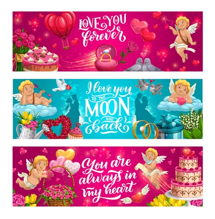 Save the date greetings, love you to moon and back, forever in my heart. Vector wedding day symbols, bride and groom, cupids and doves. Engagement rings, holiday cakes and flower bouquets, gifts