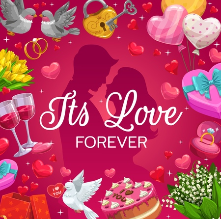 Forever love, bride and groom going to kiss and frame of wedding symbols. Vector engagement ring, married newlywed couple and doves. Marriage holiday, festive cake and gifts, balloons and padlock