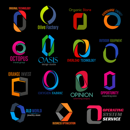 O letter icons of technology, business and commerce industry. Organic store, travel group or coworking service and jewelry store, design studio or food factory and advertising company vector O symbols Иллюстрация