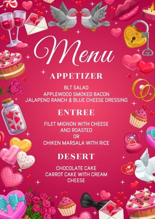 Save the date menu template, appetizer, entree and desserts, frame of marriage symbols. Vector main dishes and cakes. Couple of doves, wine glasses and padlock with key, engagement rings, candles
