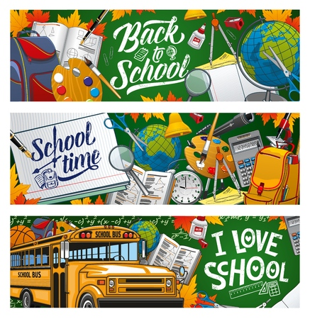 I love school, welcome back to school to start studying. Vector means of education, stationery items and transport. Yellow bus, Geography and Art, Maths and Astronomy subjects, lessons supplies Illustration