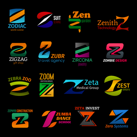 Corporate identity Z icons and business company letter symbols. Tailor shop, gift store or medical group and technology system, zumba sport dance school or construction industry and travel agency