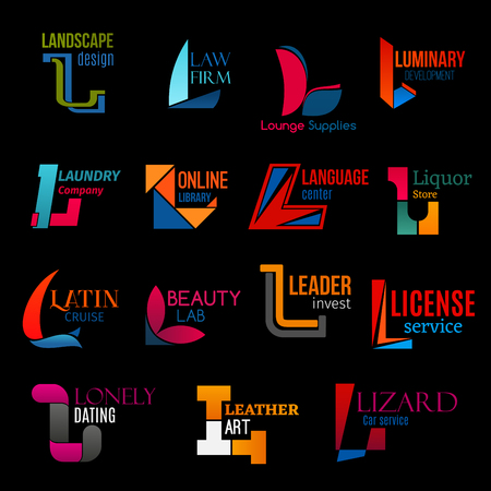 L icons set, corporate identity design symbols and business company emblems. Vector letter L landscaping agency, law legal firm or laundry service and language center, drink store or investment group