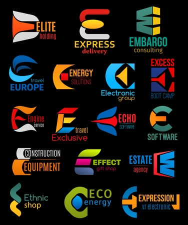 Corporate identity E icons of express delivery company, energy solutions corporation and engine car service. Vector letter E signs consulting business, real estate agency or eco energy industry