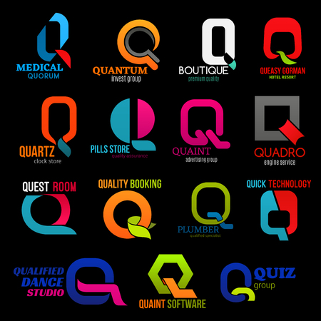 Letter Q vector icons or corporate business identity and company brand. Q icons of medical quorum, invest and trade group or premium boutique and hotel resort, dance sport studio or booking service