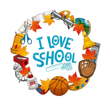 I love school frame of stationary objects. Vector educational supplies, open book on geometry, teacher glasses and globe, 1 September bell, calculator. Baseball sport glove and basketball ball, clock