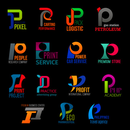 P letter icons design studio, delivery logistics or gas station company and academy. Corporate identity car service, travel agency, avertising group and eco pharmacy or premium store vector P symbols Ilustração