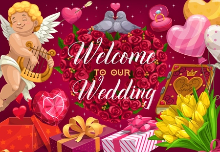 Invitation on wedding with heart shaped flower wreath and cupid. Vector welcome to marriage card, engagement rings and couple of doves in love. Gift boxes, book of love spells, angel playing on harp