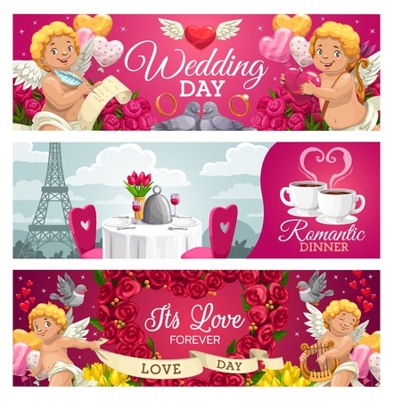 Wedding day, romantic dinner and forever love congratulation cards. Vector cupids and doves celebrating engagement, dining table in Paris. Heart shape wreath of rose flowers, bouquets of tulips