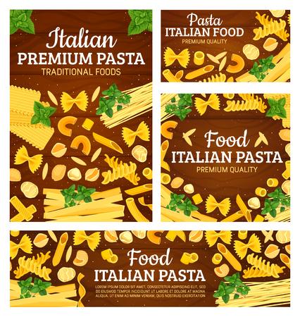 Italian cuisine pasta dishes menu cover. Illustration