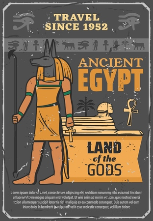 Ancient Egypt landmarks and historic sightseeing travel tour poster