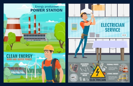 Electrician service, house electric repair tools and power plants. Vector energy generation windmills, hydroelectric energy production power station, electric wires, light switcher and voltage tester