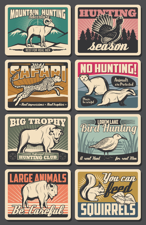 Hunting open season and wild animals poaching warning vintage posters.