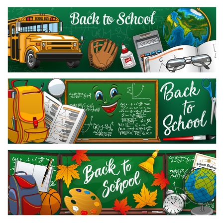 Back to school lettering on green blackboard, stationery tools and 1st September symbols. Vector school bus and baseball glove, PT lesson equipment. Maths formulas and textbook on geometry, backpacks