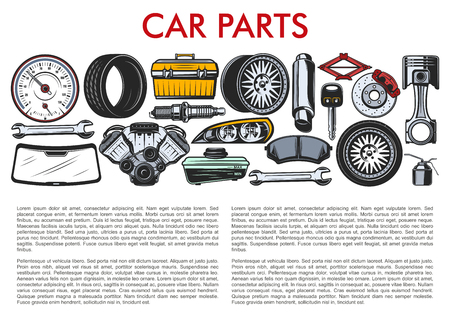 Car repair spare parts and auto service mechanic tools.