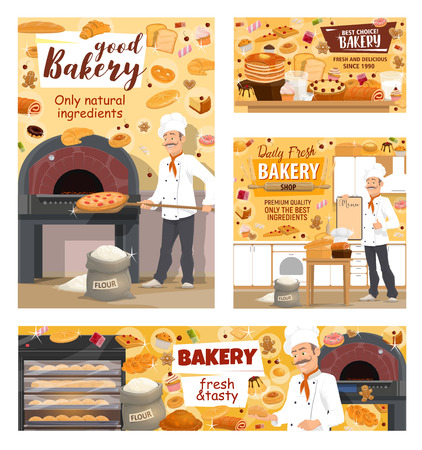 Baker baking bread, pizza and pastry cakes in bakery shop. Vector baker profession and bread bake ingredients, wheat or rye flour, sweets and cookies in oven, donuts and croissants
