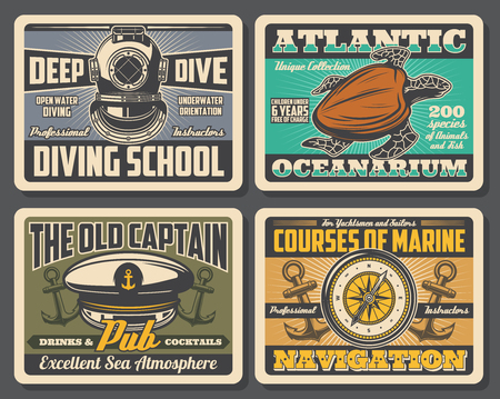 Nautical vintage posters with marine anchor and compass symbols.