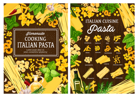 Italian cuisine pasta cooking ingredients and spices.