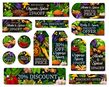 Farm market seasonings discount offer for natural herbs and organic spices. Vector special price tags with sorrel, spinach or savory and garlic, pepper and horseradish, vanilla and cinnamon seasonings Illustration