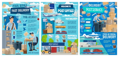 Mail delivery service and post office postman courier profession.