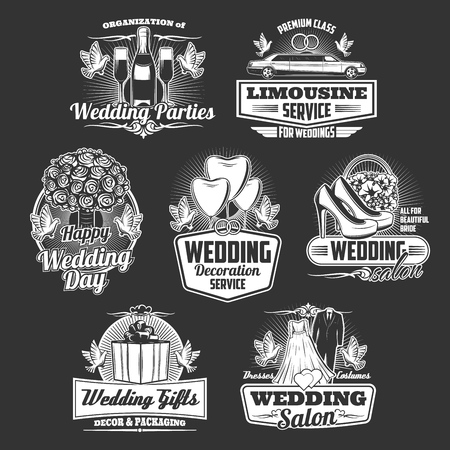 Wedding arrangement service, marriage ceremony, bride and bridegroom tailoring salon icons.