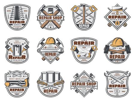 Bauwerkstatt und Handwerker-Reparatur-Service-Shop-Symbole.