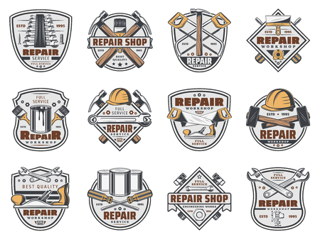Construction workshop and handyman repair service shop icons. Иллюстрация