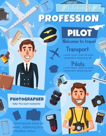 Pilot and photographer professions, aviation and photography industry. Vector people and professional work items, pilot crew or airport staff and flight attendant, journalist photo camera and films