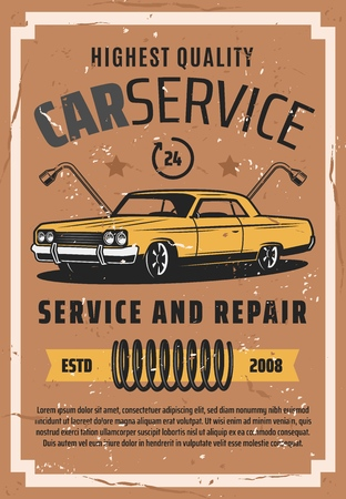 Retro vehicles auto service and repair station vintage poster. Vector old car, wheel tire replacement lug wrench, mechanic tools and chassis spare parts, diagnostic premium garage service