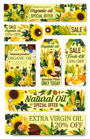 Banners de venta de tiendas de aceites de cocina y carteles de promoción de tiendas de comestibles. Vector girasol, oliva virgen extra y botellas de aceite de plantas o nueces, maíz vegetal orgánico y aceites de coco o de linaza Ilustración de vector