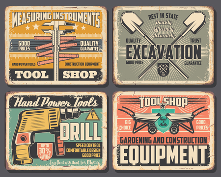 Work tools workshop posters, measuring instruments, construction and home repair or excavation equipment. Vector handyman electric drill, gardening spades and wheelbarrows, carpentry and masonry tools