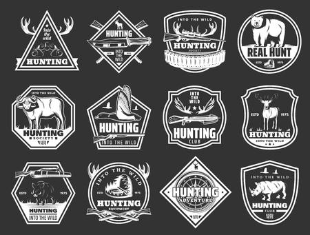 Hunter club badges, hunting open season adventure icons of wild animals and birds.