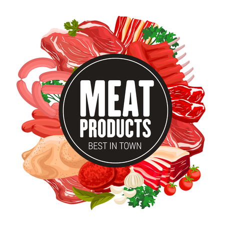 Butcher shop meat and sausages gourmet delicatessen. Vector gastronomy meat food products, turkey or chicken, salami sausage, beef steak and pork ham with bacon, mutton ribs and cooking spices Foto de archivo - 128161932
